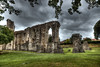 Walls fall, but grass still grows (The Frustrated Photog (Anthony) ADPphotography) Tags: architecture category england external glastonbury glastonburyabbey hdr places somerset travel ruin decay abbey monastery placeofworship wall stonewalls stone building structure church clouds sky greyclouds cloudy grass lawn trees outdoor travelphotography architecturephotography gothicarchitecture arches canon1585mm canon70d canon