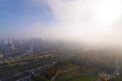 The Langoliers (Ash and Debris) Tags: view houses high rails buildings cityscape weather morning urban ukraine kiev city trees sky fog mist railway kyiv railroad
