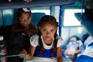 Punjabi little girls  in the train from Mathura to Dehli, India
