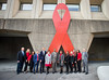 Secretary Carson and HOPWA with Word Aids Day Ribbon (U.S. Dept. of Housing and Urban Development (HUD)) Tags: ben carson hopwa hudbuilding people redribbon sohud sammymayojr secretary aids employees worldaidsday