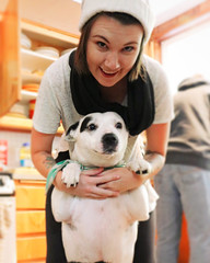 Nikki & Babygirl (KaylaMariW) Tags: dog pitmix pitbullmix bandanna whiteandblackdog