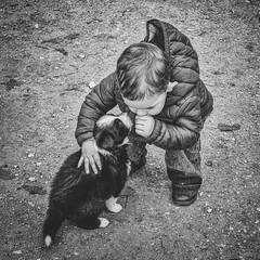 Je t'aime..... (Isa-belle33) Tags: animal nature dog puppy pet chiot enfant children kid boy bnw fujifilm blackwhite blancetnoir blackandwhite monochrome