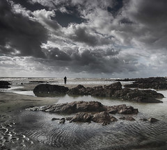 A Moment (suerowlands2013) Tags: portwrinkle secornwall pilchardfishing lowtide rockpools silhouette lonefigure stormclouds beach
