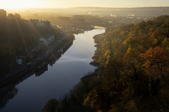 First Light (Paul C Stokes) Tags: bristol clifton leigh woods autumn autumnal colours colors early morning sunrise first light trees avon gorge river fall season change changing november uk england city my home shadow cast sony sonya7r a7r zeiss 1635 35mm mm handheld golden
