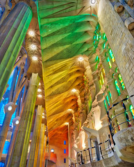 Inside The Sagrada Familia (Stuck in Customs) Tags: barcelona portugal spain stuckincustomscom treyratcliff trey ratcliff church sagradafamilia blue 80stays rcmemories treyratcliffcom hdr hd stuck in customs daily photo rr square colour color photography tutorial time red green orange yellow lights stained glass window wall dome 2017 ceiling ancient april landscape skyline cityscape building glowing light night structure architect city view hasselblad x1d people