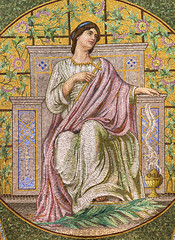 1909 tile mosaic depicting Faith in the Lakewood Memorial Chapel in Minneapolis, Minnesota. The mosaic was designed by the Charles Lamb Studios of New York (thstrand) Tags: 19001909 1908 1909 allegory american architecturalstyle architecturalstyles architecture arts artwork building buildings builtstructure chapels charleslamb church classical clothinganddress colorful cross decorativeart depicting depiction early20thcentury elaborate faith harrywildjones historicsite history humanfigures inside interior interiors lakewoodcemetery mn marble memorialchapel minneapolis minnesota mosaicart nationalregisterofhistoricplaces nobody opulence orante religion religious robe robes sanctuary structures symbol symbols tessellae tile tiles us usa unitedstatesofamerica visualarts woman women