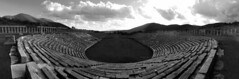 Antique Messini (roomman) Tags: 2017 greece peloponnes peninsular messini messenae ruin ruins ancient kalamata bw black white monochrome blackandwhite bandw contrast lostplace lost place greek mythology city town old messene centre excarvation panorama perspective theatre theater play country countryside landscape nature outside