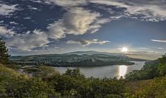 View to Pancharevo (nickneykov) Tags: nikon d7000 nikond7000 tokina 1116 tokina1116mm panorama pancharevo bulgaria landscape clouds sunset sky blue green forest mountain dam water sun sunlight