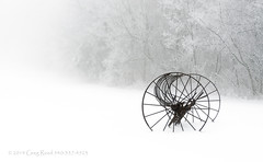 Out of the Mist a Forgotten Era II 2014_diffused glow (Greg Reed 54) Tags: hayrake farm farmequipment antique virginia blueridgeparkway blueridgemountains mist fog foggy snow snowing snowstorm hay rake