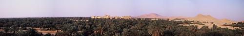 Palmyra (Tadmor), Blick vom Hotelzimmer (Hotel Heliopolis) auf Oase und Ruinengelände