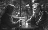 two thinkers (albyn.davis) Tags: blackandwhite light people cafe restaurant paris france conversation communication communicating thinker thinkers couple