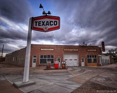 Vintage Texaco Station (CTfotomagik) Tags: gas station texaco service brick vintage sign sky building nikon wide angle 1020mm greeley co colorado retro rust pumps concrete fuel gasoline garage weld county clouds