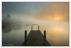 Burning through - Explored (Lynne J Photography) Tags: newfoundland landscape sunrise foggy jetty water grandfallswindsor misty reflections nikon