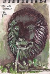 Boston Public Library Lion fountain sketch (Howie Green) Tags: boston public library lion fountain stataue sketch sketchbook