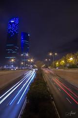 Las Cuatro Torres (Madrid) (Aneiv) Tags: cuatrotorres madrid ctba skyline sonya6000 samyang12mm night light trail