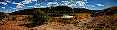 dark and chama rio (JoelDeluxe) Tags: rio chama riochama nm wildscenic river abiquiu santafenationalforest red beige tan mesa bluff soil plants landscape panorama hdr newmexico joeldeluxe riverbend