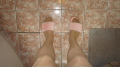 m11 32 (Slipper Queen) Tags: open toe fluffy furry slippers tights pantyhose sexy legs cd tv tg tgirl tgurl trannie crossdress