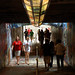 Students walk through the officially reopened Free Expression Tunnel.