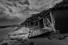 Relics (Crouchy69) Tags: sunrise dawn landscape seascape ocean sea water coast clouds sky long exposure black white mono sandon point boat shed boatsheds bulli nsw australia