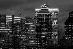 b&w city lights (Eileen NDG) Tags: montreal architectue buildings citylights downtown evening bw
