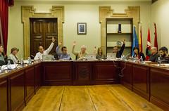 Detalle de la votación de las Ordenanzas, no se vé la bancada y a los/as representantes de EAJ-PNV