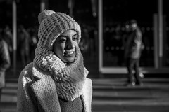 Well Wrapped (Leanne Boulton) Tags: portrait urban street candid portraiture streetphotography candidstreetphotography candidportrait streetportrait eyecontact candideyecontact streetlife woman female girl face facial expression eyes look emotion feeling mood atmosphere smile cold winter weather hat scarf sunlight contrast beauty beautiful tone texture detail depthoffield bokeh naturallight outdoor light shade shadow shadows city scene human life living humanity society culture lifestyle people canon canon5d 5dmkiii 70mm ef2470mmf28liiusm black white blackwhite bw mono blackandwhite monochrome glasgow scotland uk