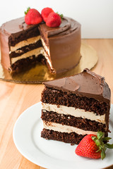 Slice Of Chocolate Cake (Meringue Bakery) Tags: network holiday baking bakery meringue jennifer barney championship dessert chocolate frosting sweet pastry sugar delisious strawberry slice lacrosse wisconsin