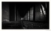 Down the track (frankdorgathen) Tags: column concrete dark railroad track train industry industriekultur zeche zollverein essen stoppenberg ruhrgebiet city urban town perspective wideangle stone