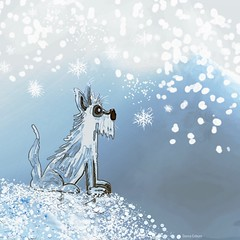 """Counting Snowflakes"" (donnacoburn1) Tags: coloring colours draw humorous cartoon originalart art snow seasonal winter dog original donnacoburn speeddoodle doodle drawing brush image safe public ip pencil apple apps digital mobileart"
