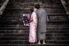 The kiss (karinavera) Tags: night photography urban ilcea7m2 street people couple japan kimono kiss kyoto