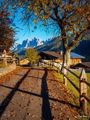 Dolomiti - Val di Funes - St. Jakob (Luigi Alesi) Tags: dolomiti funes valdifunes italia italy alto adige sudtirol bolzano bozen val di villnoess san giacomo st jakob dolomites dolomiten odle paesaggio landscape scenery strada way road autunno fall autumn nikon d750 raw