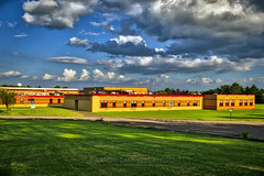 Highschool Cloudscape, 2010.06.24 (2017 Remix) (Aaron Glenn Campbell) Tags: lakelehman highschool lehman backmountain luzernecounty pennsylvania outdoors architecture building school sky clouds 3xp hdr macphun aurorahdr2017 on1effects nikcollection colorefexpro viveza shade shadows sunlight canon eos rebel t2i 550d efs 1855mmf3556is kitlens
