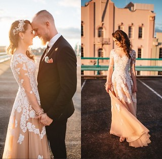 Tulle Gorgeous Long-Sleeve Lace A-Line Evening Dress