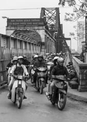 Long Biên Bridge Commuters (Greg Rohan) Tags: monochrome blackwhite blackandwhite bw earlymorning bikes scooters scooter people commuters longbiênbridge bridge travel vietnam hanoi asia d7200 2017
