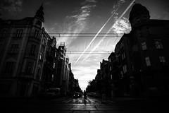 Contrail 87.365 (ewitsoe) Tags: sky neighborhood ewitsoe canon eos6dii sigma20art 20mm cityscape jezyce poznan poland caon sigma autumn sun clouds chetrail cloudy sunrise chilly cloudscoming street monochrome bnw blackandwhite 87 365