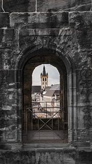 St. Gangolf through a window at Porta Nigra Interior - Trier