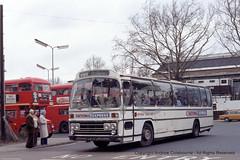 SP083-080981 (andrewcolebourne) Tags: london londonbus londontransport goldersgreen station coach nationaltravelwest 1202 sfv202p service860 nationalexpress nbc nationalbuscompany leyland leopard plaxton supreme