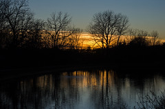 My butterfly place at nightfall (KsCattails) Tags: kansas kscattails nightfall overlandparkarboretum reflection sunset water