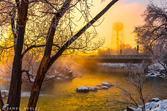 Cut Through the Fog (James Neeley) Tags: idahofalls morningfog snakeriver sunrise landscape jamesneeley