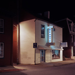 (patrickjoust) Tags: tlr twin lens reflex 120 6x6 medium format fuji chrome slide e6 color reversal expired discontinued film tungsten cable release tripod long exposure night after dark manual focus analog mechanical patrick joust patrickjoust usa us united states north america estados unidos town mamiya c330 s sekor 80mm f28 fujichrome t64 hagerstown washington county maryland md house home building award beauty school sign illuminated
