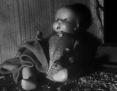 Doll hitting bottom (tishpitt1) Tags: doll compositiondoll antiquedoll smoke cigarette booze drink whiskey baddoll drugs addict ricohcx3 blackandwhite monochrome