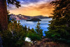 View to Crater Lake (Bartfett) Tags: crater lake forest view water oregon nationalpark wizard island trees snow winter sunset dusk twilight colors clouds storm blue clear deepest