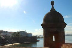 San Juan, Puerto Rico (Prayitno / Thank you for (12 millions +) view) Tags: konomark guard post station stone fort sju sanjuan puertorico pr puerto rico day time outdoor caribbean ocean view beach front shore line tourist spot spanish spaniard outlook icon iconic logo symbol unique typical sunny blue sky sunray