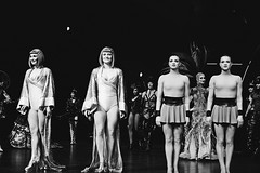 Individuality (catarinae) Tags: individuality bw black white portrait four women twins wigs artistic artists acrobatic wheel rope one show berlin friedrichspalast deutschland germany costumes gaultier swing