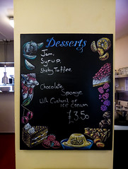Desserts (Steve Taylor (Photography)) Tags: tivolicafe desserts jam syrup stickytoffee pudding choclatesponge custard icecream £350 lemon apple icecreamsundae cake strawberry choclate rasberry art drawing sketch sign advert cafe uk gb england greatbritain cherry unitedkingdom margate fruit