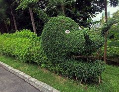Creepy Topiary (cowyeow) Tags: asia asian guangdong chinese macau china travel creepy topiary funny weird odd park green garden funnychina monster monsters