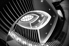 A Girl Named Disillusionment (Thomas Hawk) Tags: america chicago cookcounty illinois josefpaulkleihues kleihues mca museum museumofcontemporaryartchicago usa unitedstates unitedstatesofamerica architecture artmuseum bw staircase stairs contemporary art fav10 fav25 fav50 fav100