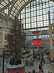 Christmas Tree in Sapporo Factory (sjrankin) Tags: 18november2017 edited sapporo hokkaido japan sapporofactory christmas christmastree people shoppingmall christmasdecorations atrium hdr windows