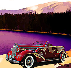 "1938 Buick Series 80 Convertible DSC_0213 (crimsontideguy-from ""Sweet Home Alabama"" USA) Tags: buick 1938 art automobiles classiccars cars digitalart digitalartrealism color compilation lakes laketahoe california trees mountains rides retro vintage vintagecars vintageautos transportation textures layers nikon"