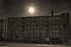 Moonlight Magnifies The Gloom (95wombat) Tags: old abandoned derelict industrial decay rot newyork bw monochrome night moonlight nocturnal darkness